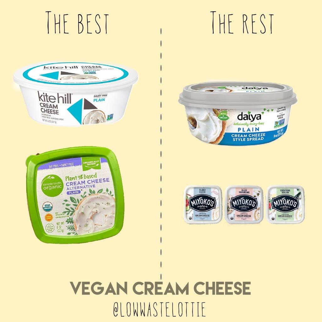 Best Cream Cheese: Kite Hill, Simple Truth  Worst Cream Cheese: Daiya, Myokos